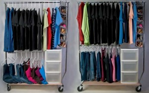 closet organizing with Scarlett